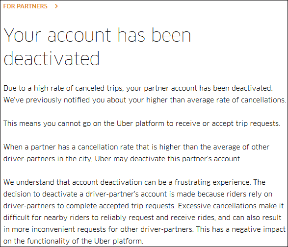 disabled Uber Account