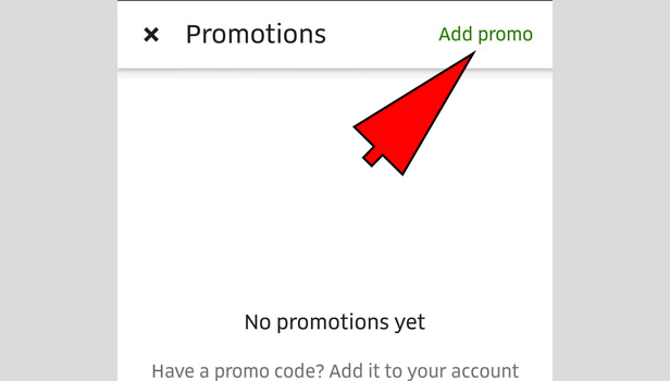 Use of UberEats Promo Code