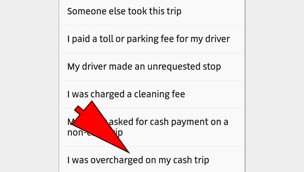 Complaint against Uber driver for overcharge