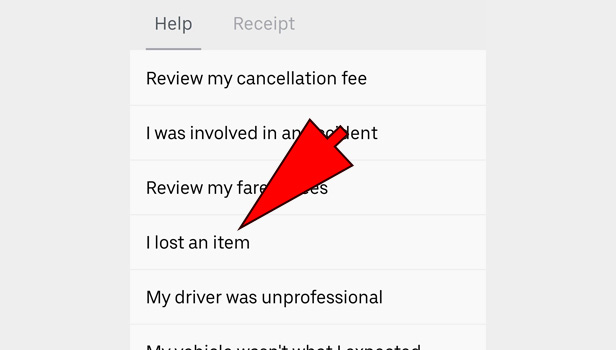 contact Uber Driver after trip
