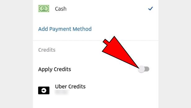 Use Uber Credit Balance