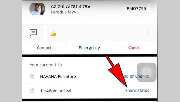 Share Live Location on Uber