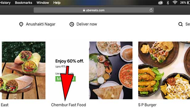 order uber eats on Mac laptop