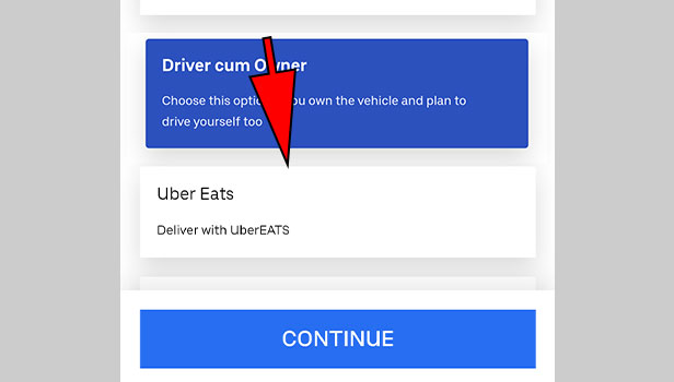 Signup for Uber Eats driver