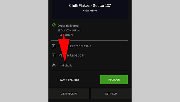 rate Uber Eats driver